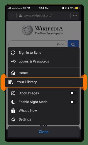 The menu in Mozilla Firefox in iOS.