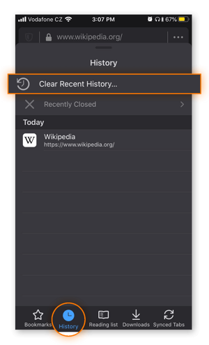 The History menu in Mozilla Firefox for iOS.