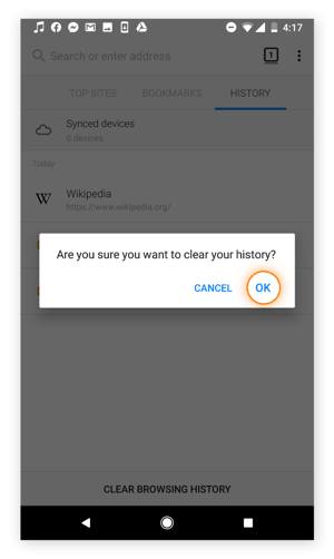 Clearing the browsing history in Firefox for Android