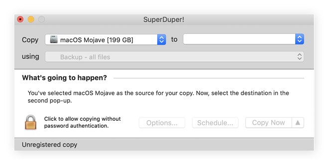 Cloning disks using SuperDuper