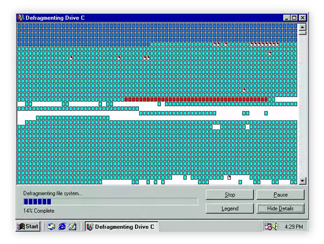 Classic Windows 95 defrag tool