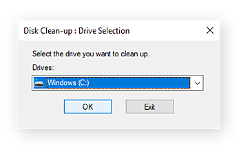 The Disk Clean-up drop-down menu that allows you to choose a disk to clear of temp files and junk data.