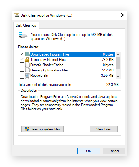 The list of junk files identified by Windows Disk Clean-up including program files and temporary internet files.