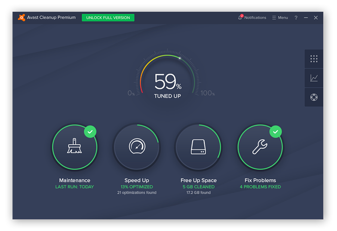 The Avast Cleanup dashboard displaying the Maintenance, Speed Up, Free Up Space, and Fix Problems tools.