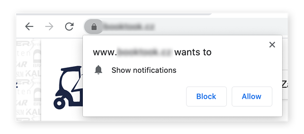 An example of a site requesting permission to send you notifications in Google Chrome.