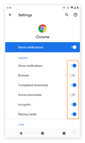 Adjusting Google Chrome notifications on Android.