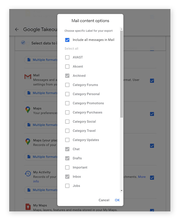 Download your Gmail emails or whole folders and categories, or get eveything all at once