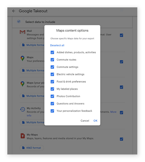 Select from a number of options for what kind of data to download from Google Maps, including items added, commute routes, food and drink preferences, and more.