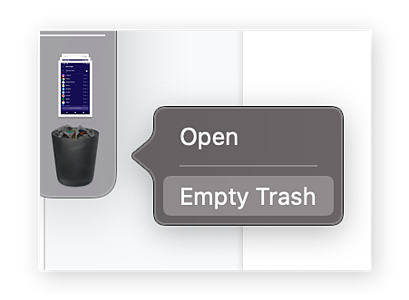 Emptying the Trash on macOS to free up disk space.