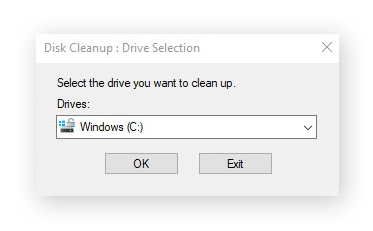 Selecting a disk to clean with Disk Cleanup for Windows 10