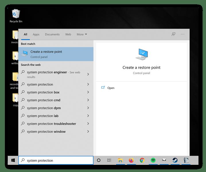 A windows start menu showing the System Restore app.
