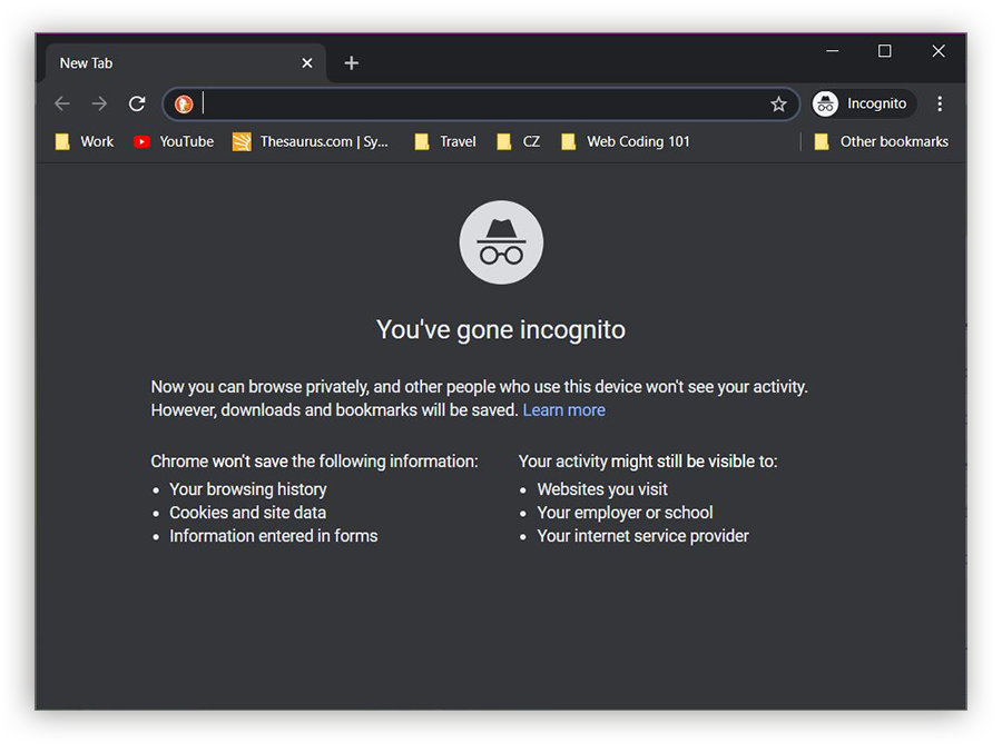 Screenshot of the Chrome Incognito Mode window, with its dark mode color scheme and the hat-and-glasses logo in the center