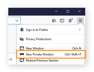 Opening a new private window from the menu in Firefox for Windows 10