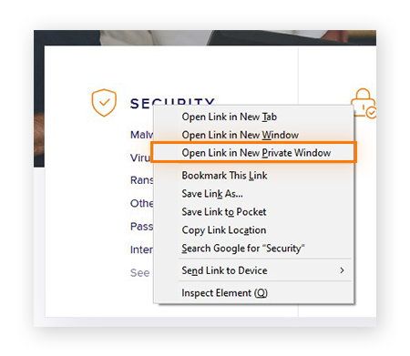 Opening a link in a private window in Firefox
