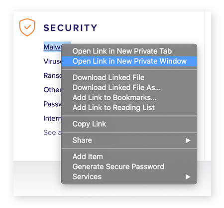 Opening a link in a new private window in Safari for macOS