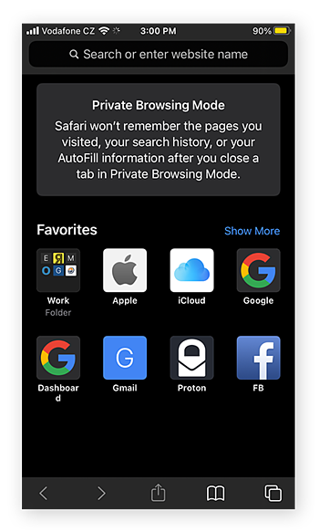 A Private Browsing page in Safari for iOS