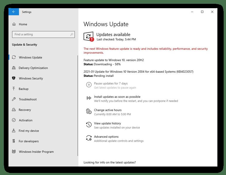 The Windows Update settings in Windows 10