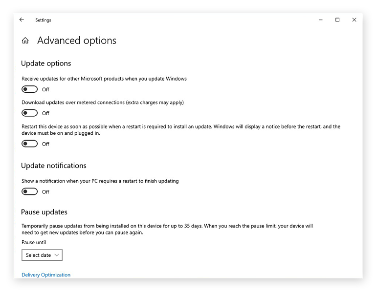 The advanced options for Windows Update in Windows 10