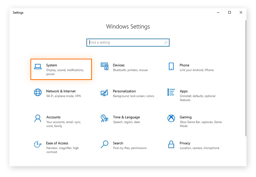 Opening the System settings in Windows 10