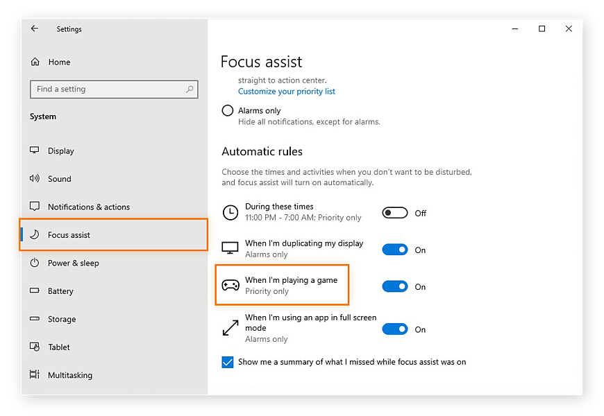 The Focus assist settings in Windows 10