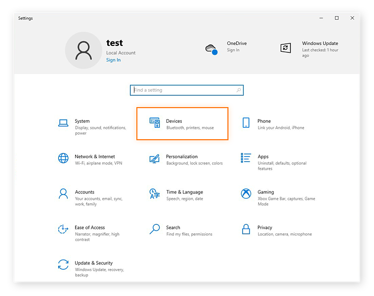 Opening the Devices settings in Windows 10