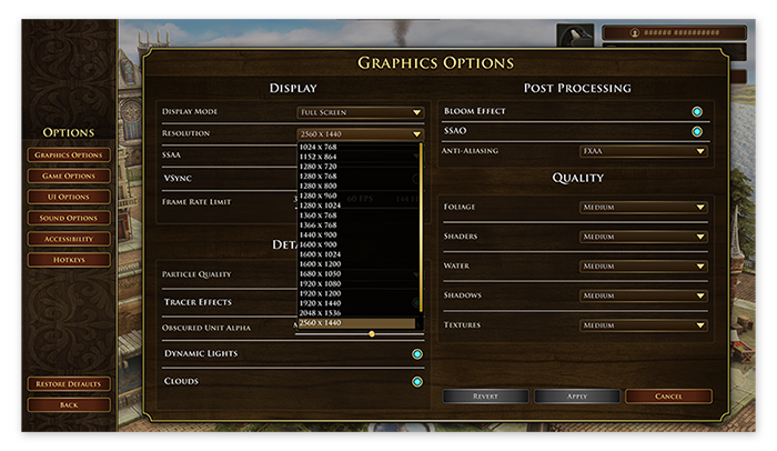 The graphics options in Age of Empires III: Definitive Edition for Windows 10