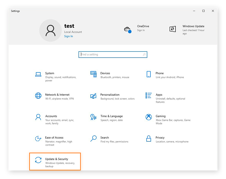 Opening the Update & Security settings in Windows 10