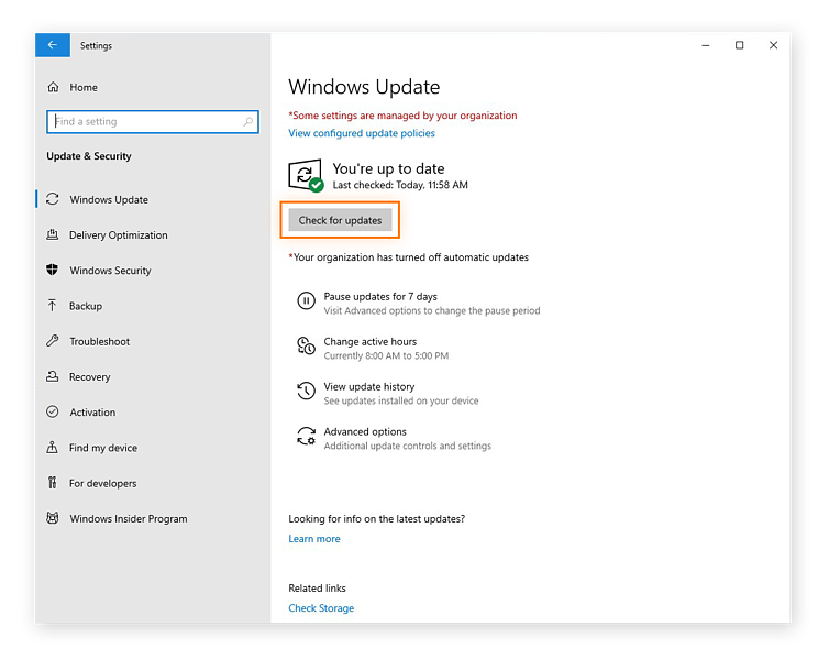 Checking for software updates in Windows 10