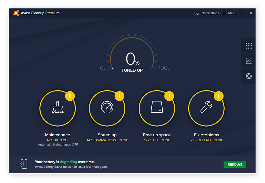The home screen for Avast Cleanup for Windows 10