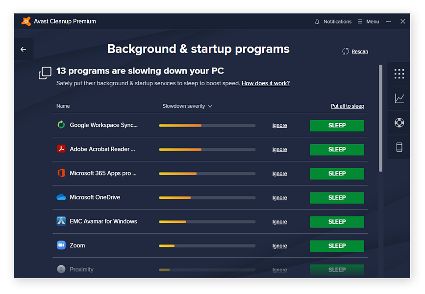Putting background and startup programs to sleep with Avast Cleanup for Windows 10