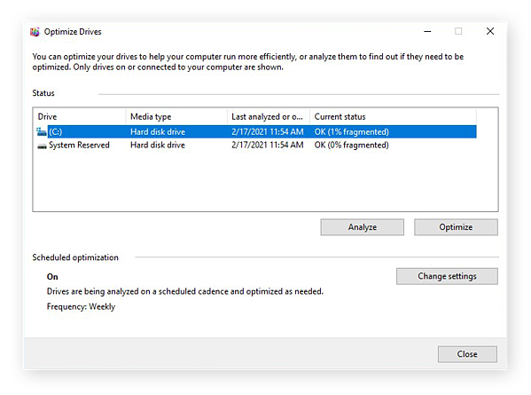 The Optimize Devices window in Windows 10