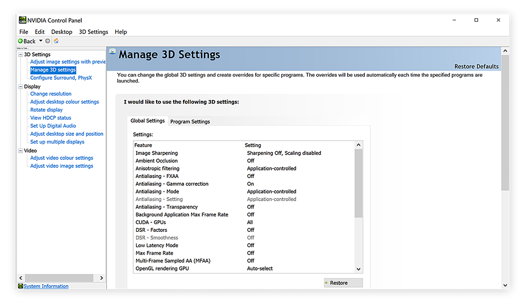 The Manage 3D Settings options in the Nvidia control panel for Windows 10