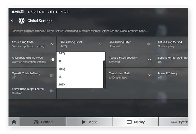 Adjusting anti-aliasing levels in the AMD Radeon control center for Windows
