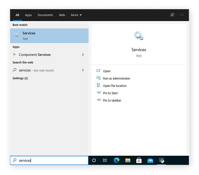 Finding the Services app from the Windows 10 search box