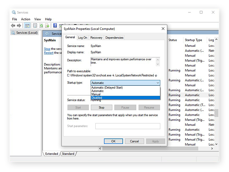 Disabling SysMain from the Services app in Windows 10
