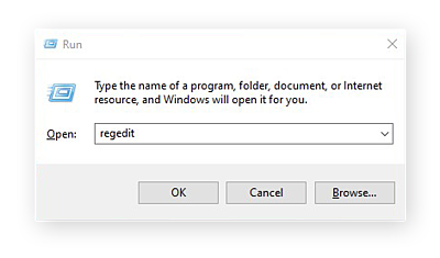 Opening the Registry from the Run box in Windows 10