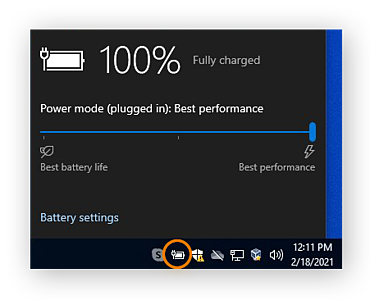 Adjusting the power settings on a Windows 10 laptop for best performance.