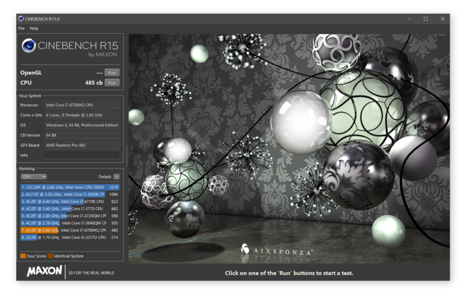 Getting baseline Cinebench results for later comparison