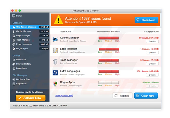 Advanced Mac Cleaner displays fake issues to scare users into paying for a bogus solution.