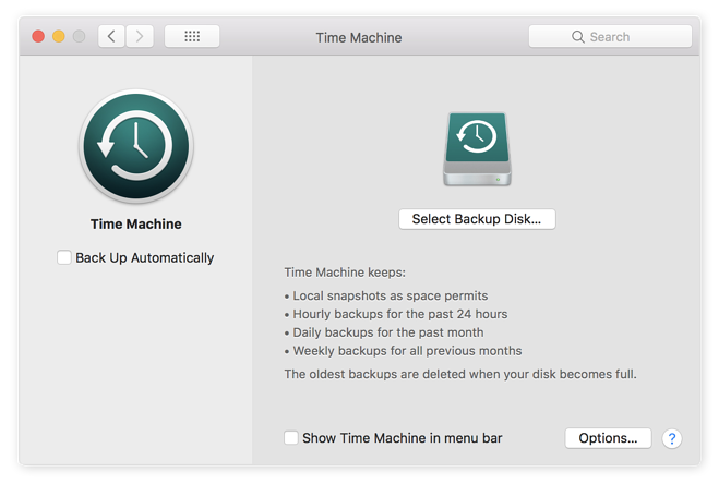 Check that your Mac's Time Machine is backing up your system automatically.