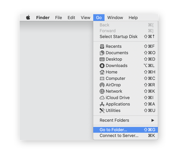 Navigating to a folder via the Finder app in macOS