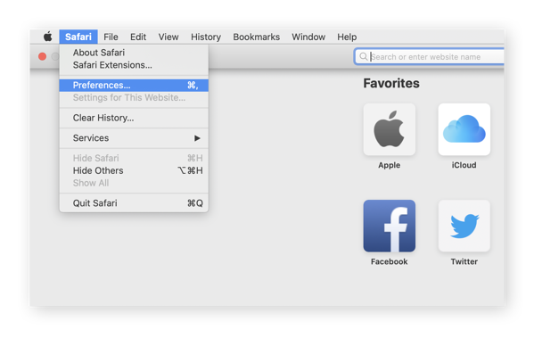 Navigating to the Preferences menu in Safari on macOS