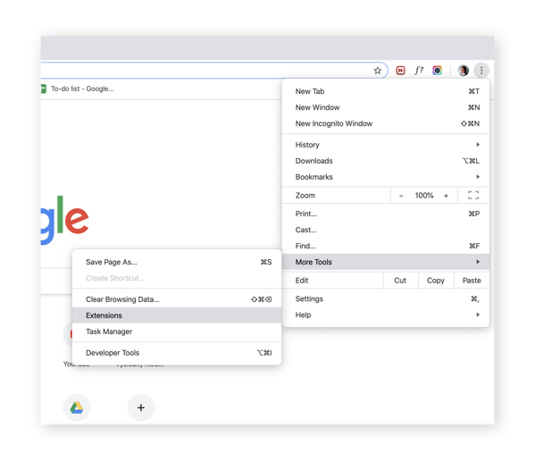 Navigating to the Extensions menu in Chrome on macOS