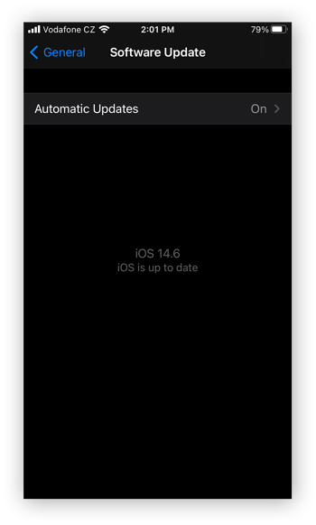 The Software Update settings in the Settings app for iOS
