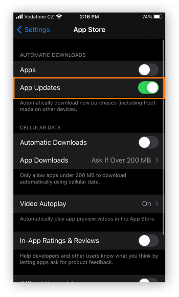 The App Store settings in the Settings app for iOS