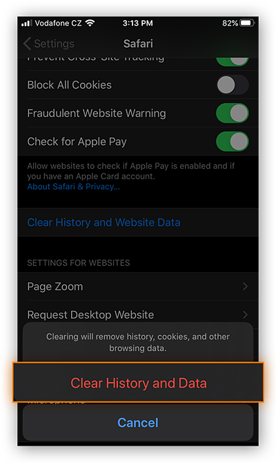 Clearing History and Data in Safari for iOS