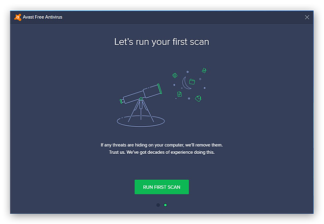 Running the first computer scan in Avast Free Antivirus after installing the program
