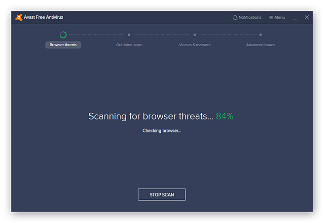 Performing a complete computer security scan with Avast Free Antivirus
