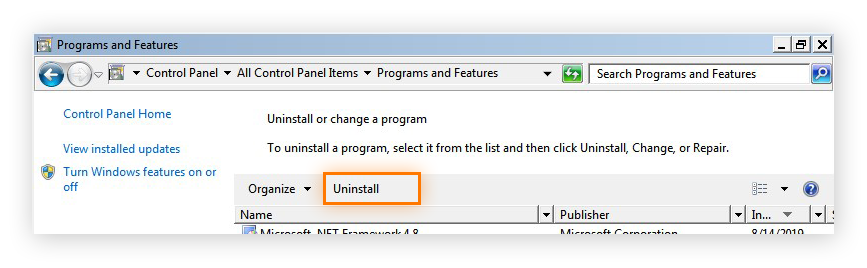 Uninstalling a program in the Programs and Features section of the Control Panel in Windows 7