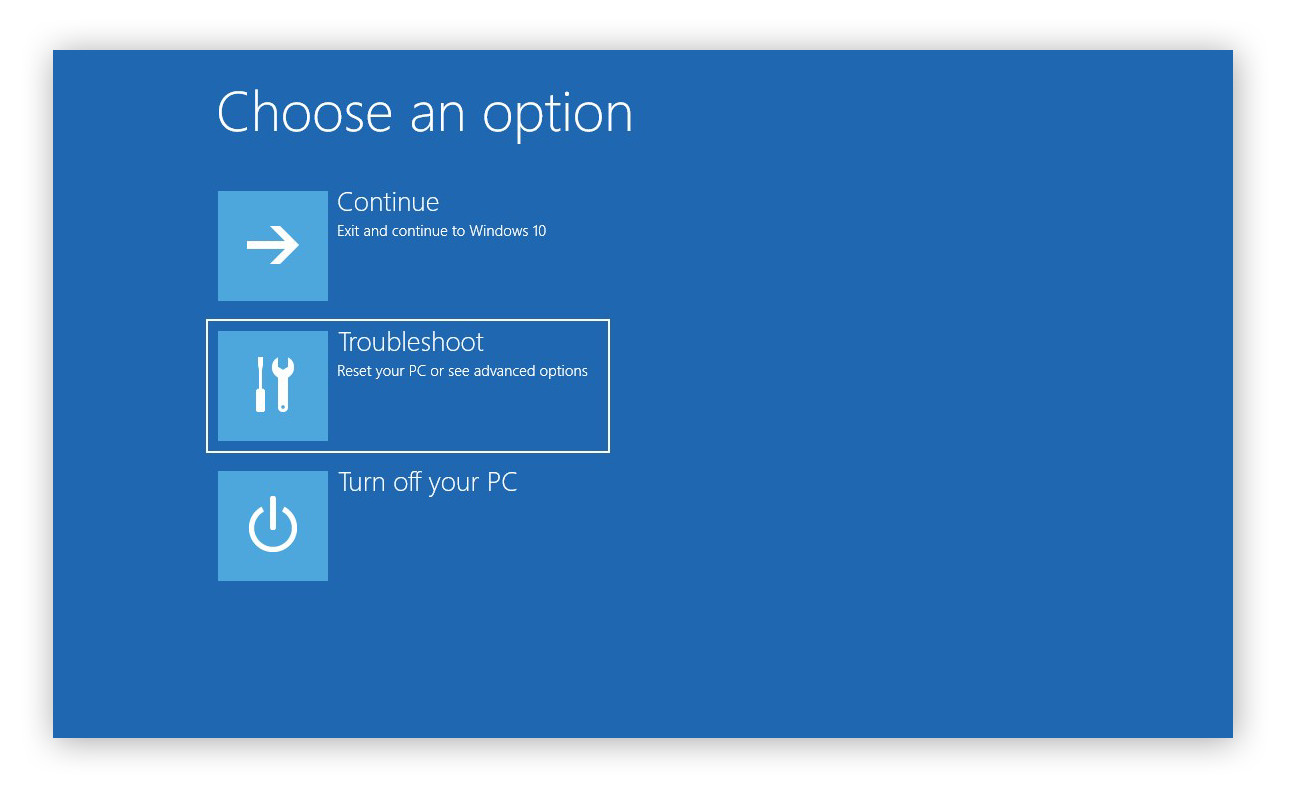 Choosing to Troubleshoot a computer while rebooting in Windows 10